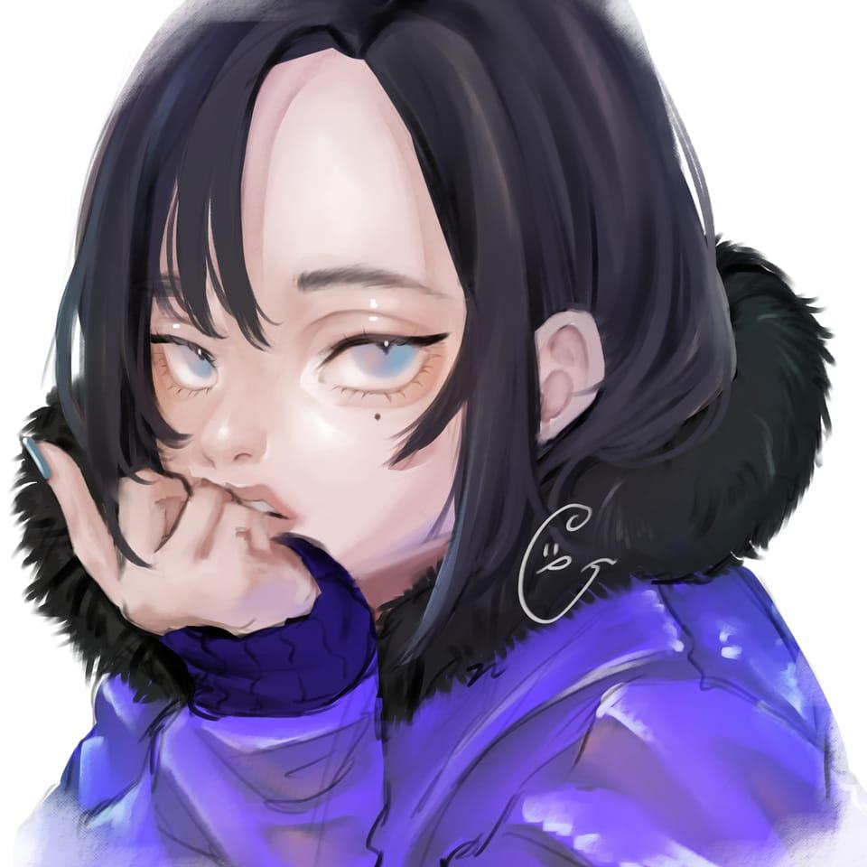 Illust of ぐら ぺぴ子 September2021_Girl 黒髪 girl oc illustration impasto original