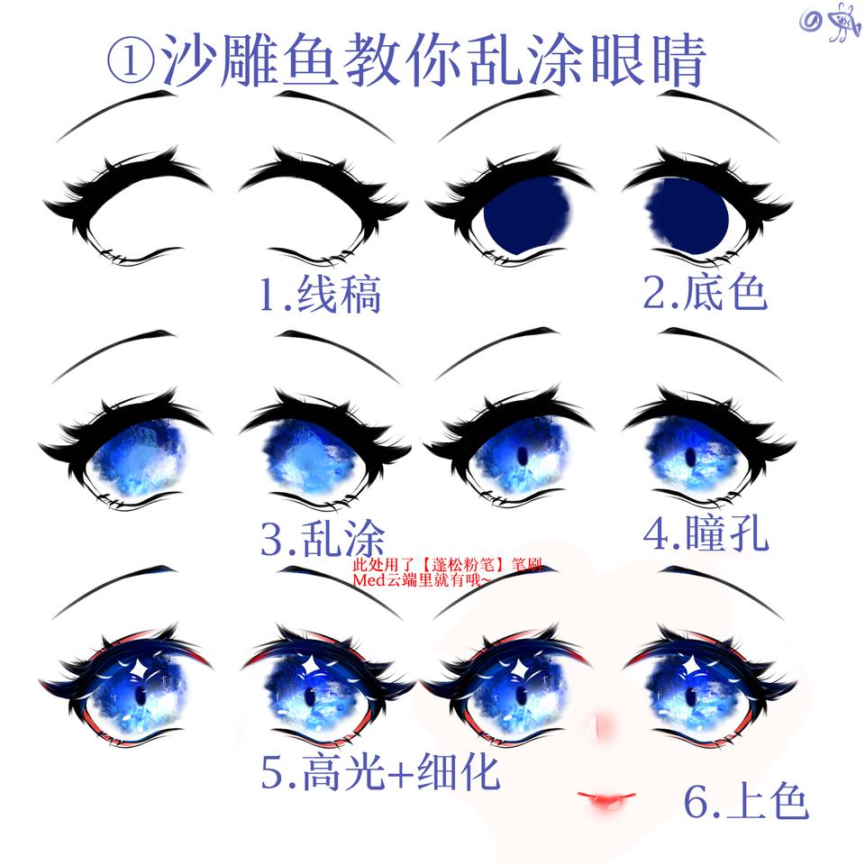 1.眼睛教程 Illust of 沙雕鱼 教程 medibangpaint 眼睛教程 指绘教程 目イキング
