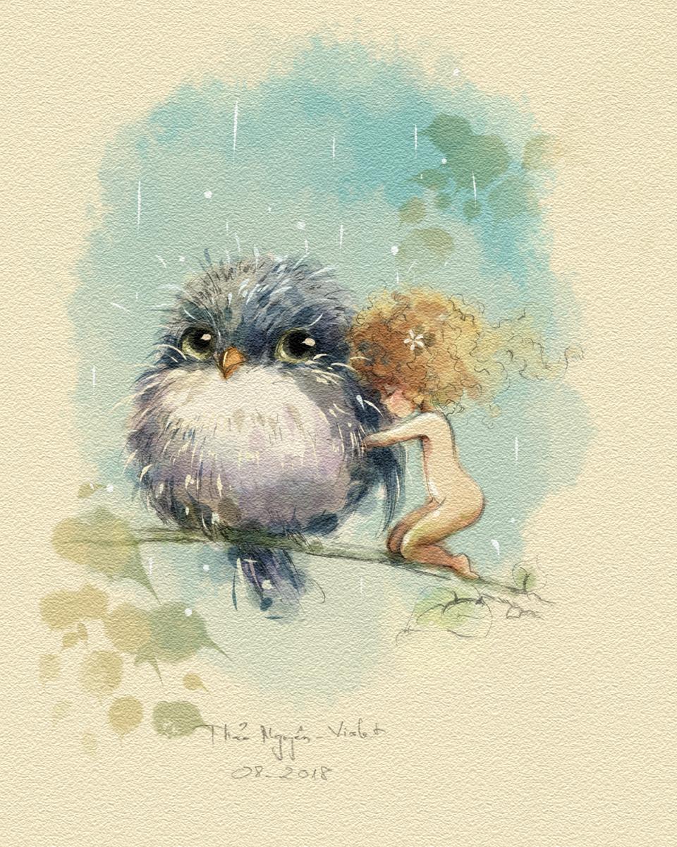Sometime, I just need a little warm  Illust of Thao Nguyen - Violet April.2020Contest:Color September2020_Contest:Furry June2021_Anthropomorphism birds animal oc cute illustration girl hug digital art