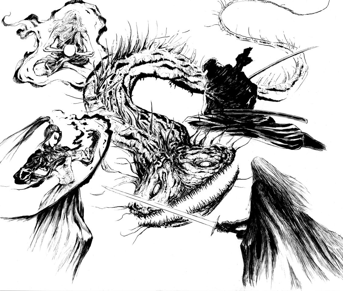 ナマズ退治 Illust of 竹林一 fantasy February2021_Fantasy アナログ ペン画 鯰 ninja サイオニック 剣士 ナマズ monster original