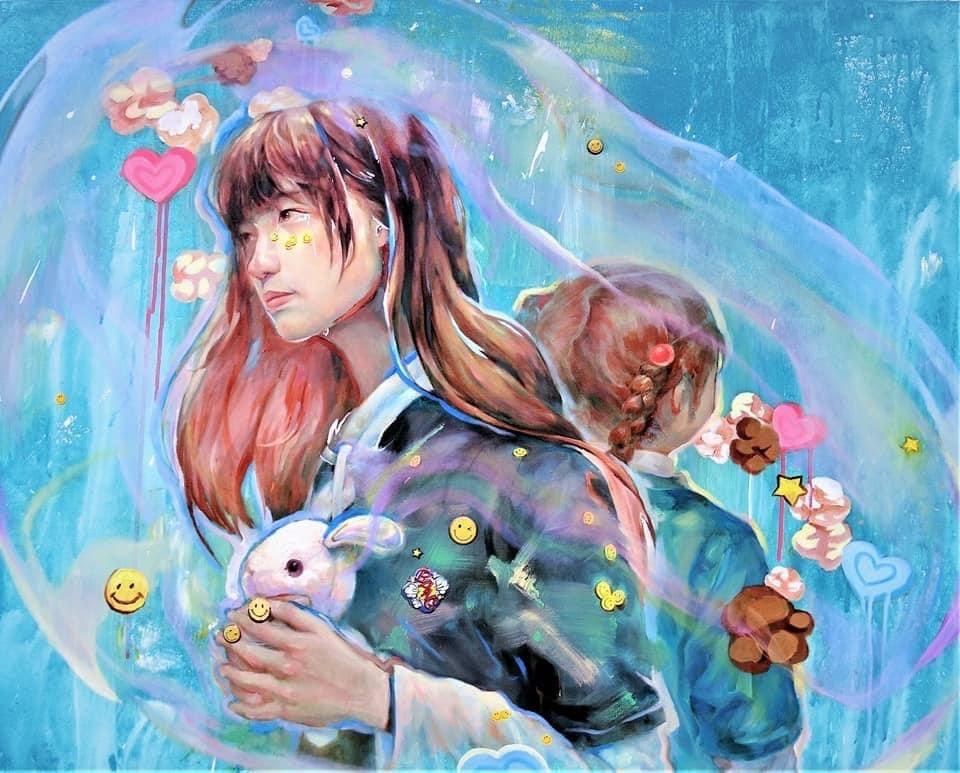 Defined life Illust of Alice Tsai September2021_Girl sideface rabbit smile
