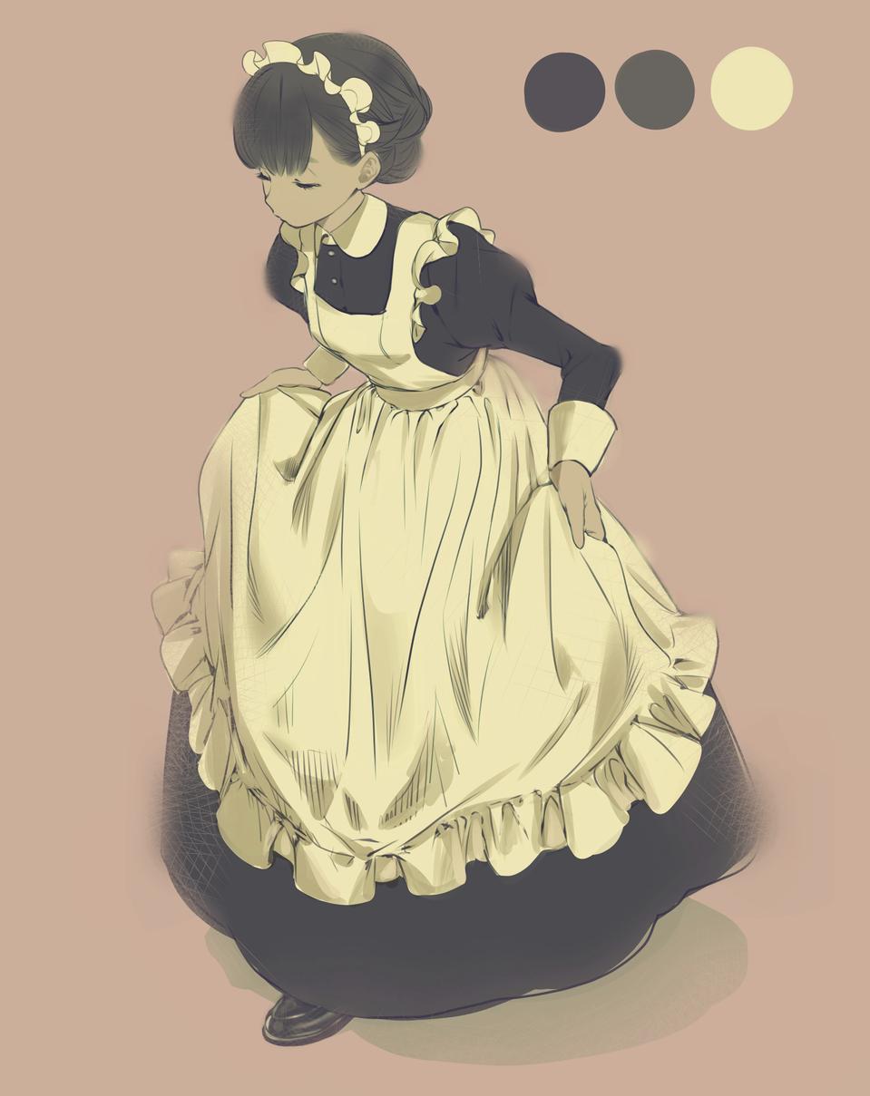 カーテシー Illust of Tow Tateoka medibangpaint maid カーテシー original