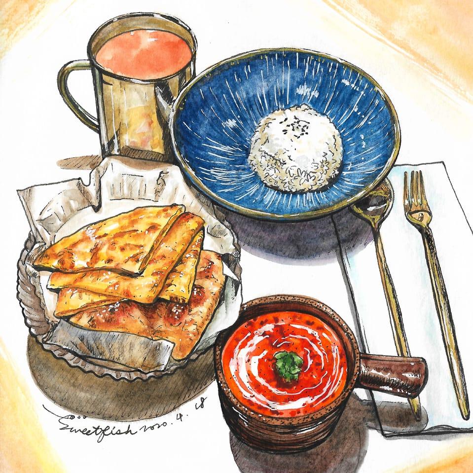 Indian Curry Illust of Sweetfish October2020_Contest:Food illustration 食物插画 水彩画 FoodFantasy Watercolors food foodillustrations watercolor 水彩插画 Artwork