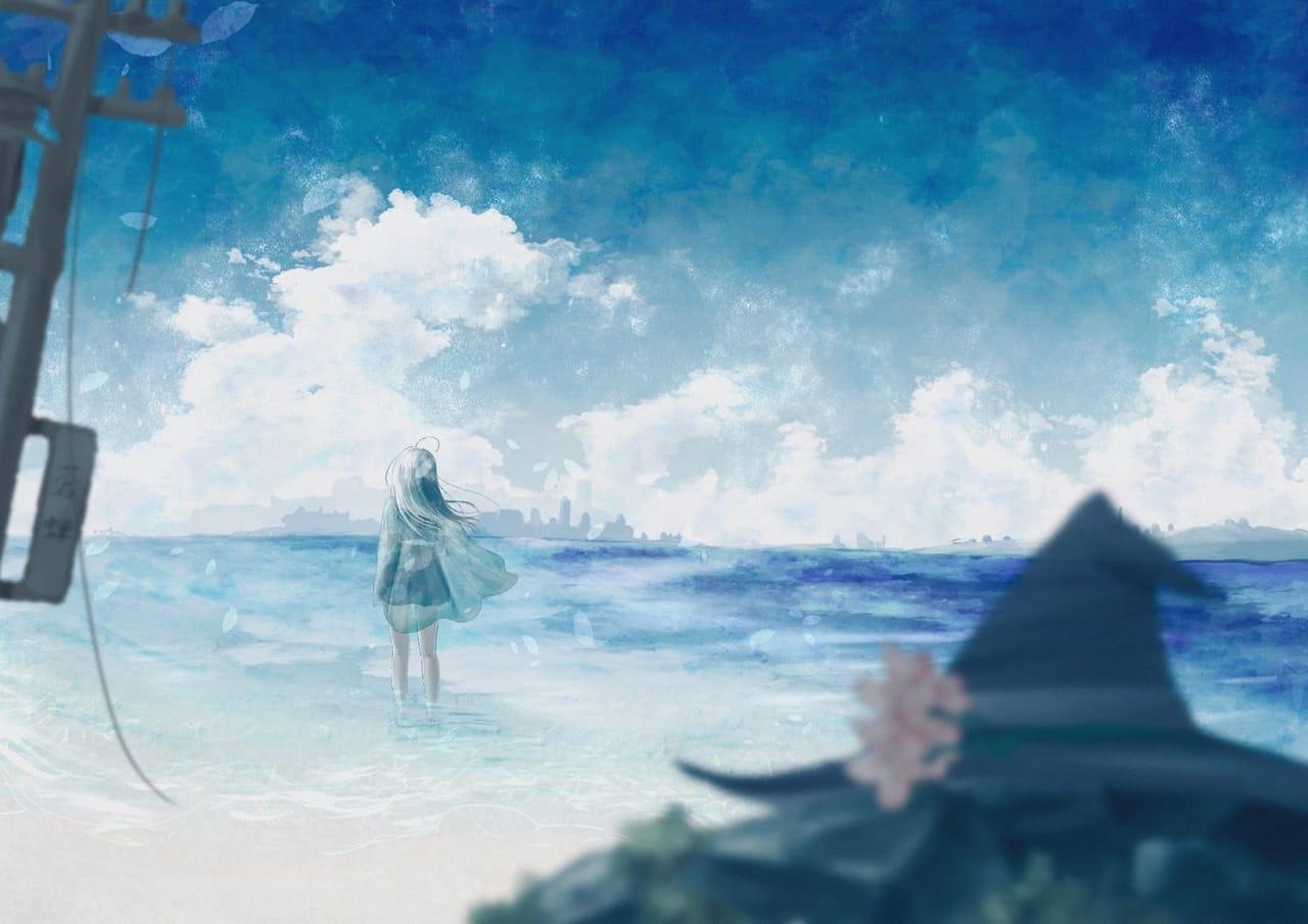 君が行きたかった場所 Illust of 熊谷のの original girl sea oc blue scenery background