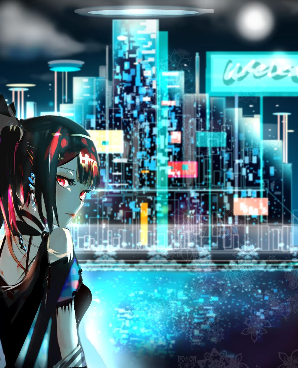 Silent Night Illust of Aiba November2020_Contest:Cyberpunk punk girl city animegirl night blue lake modern sad