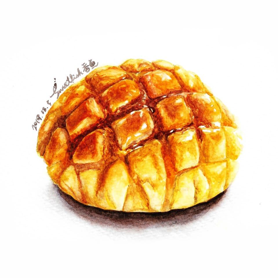 Pineapple Bun Illust of Sweetfish October2020_Contest:Food watercolor pineapplebun 水彩画 水彩插画 Watercolors 水彩風 パン bread bun food