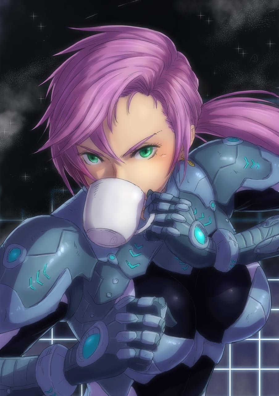 Cyber Punk Girl Coffee Illust of LittleLord November2020_Contest:Cyberpunk animestyle girl cyberpunk