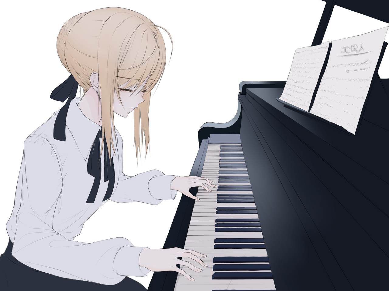 Ⅲ Illust of SOUZE medibangpaint Fate girl 便服 saber 蹲姿 piano