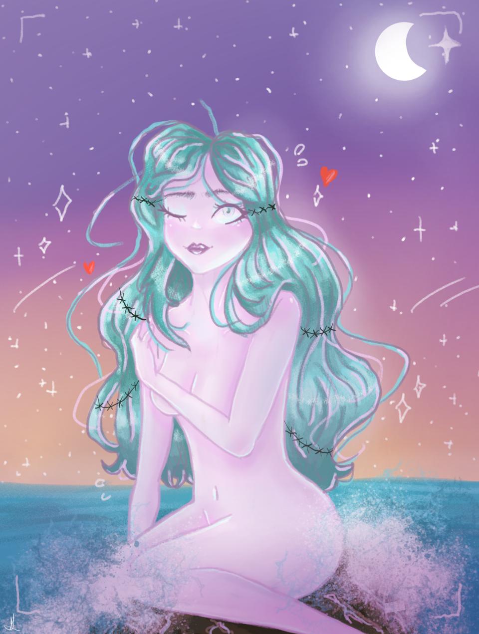 xhica en el oceano Illust of flolight2020 chicas Oceano