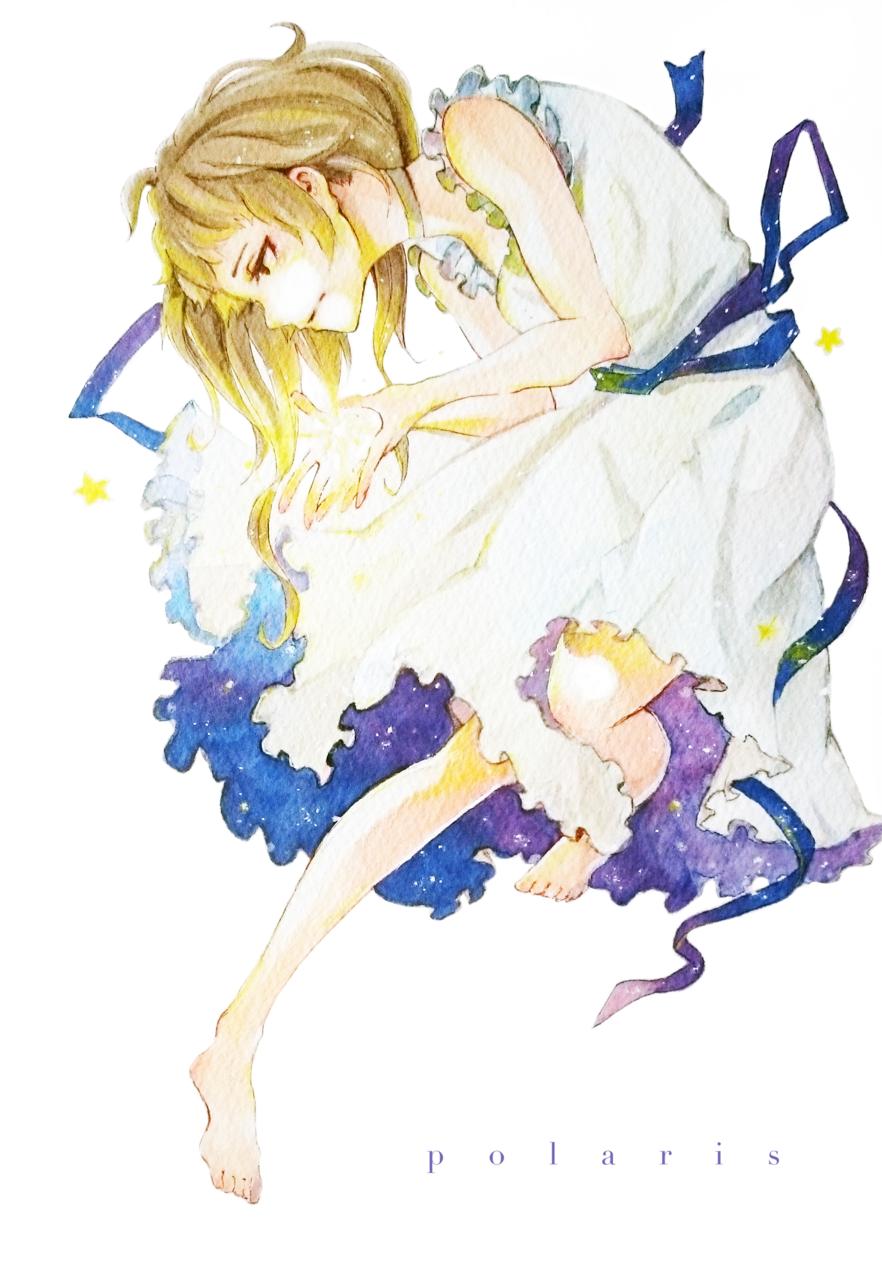 星空ドレス Illust of 陳田こころ Post_Multiple_Images_Contest アナログ painting 星空ドレス oc Copic girl star 星座 illustration