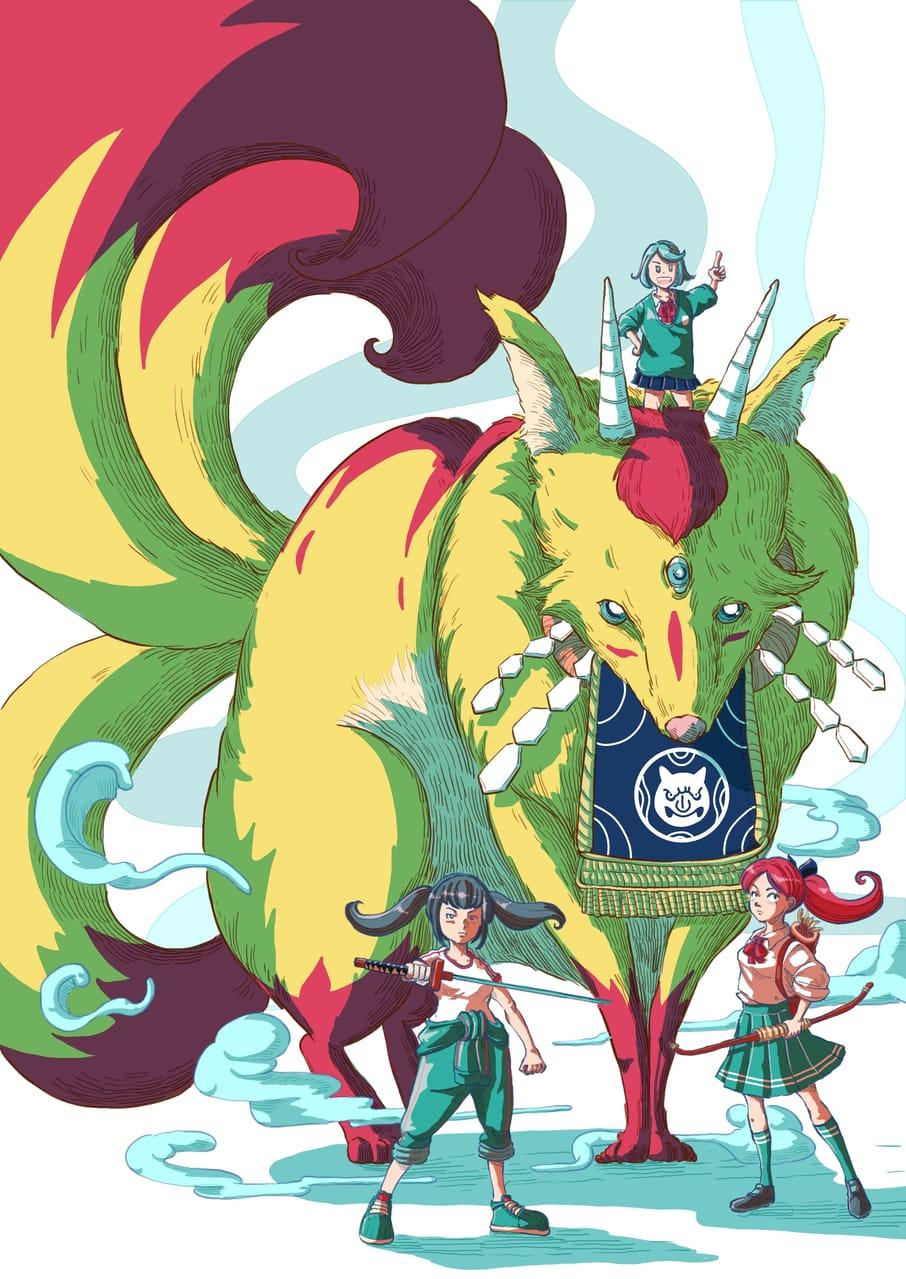 Monster Care Association after school: demon fox Illust of Wutikai March2021_Creature MySecretSocietyContest February2021_Fantasy girl Japanese_style friend cutegirl oc youkai fox monster