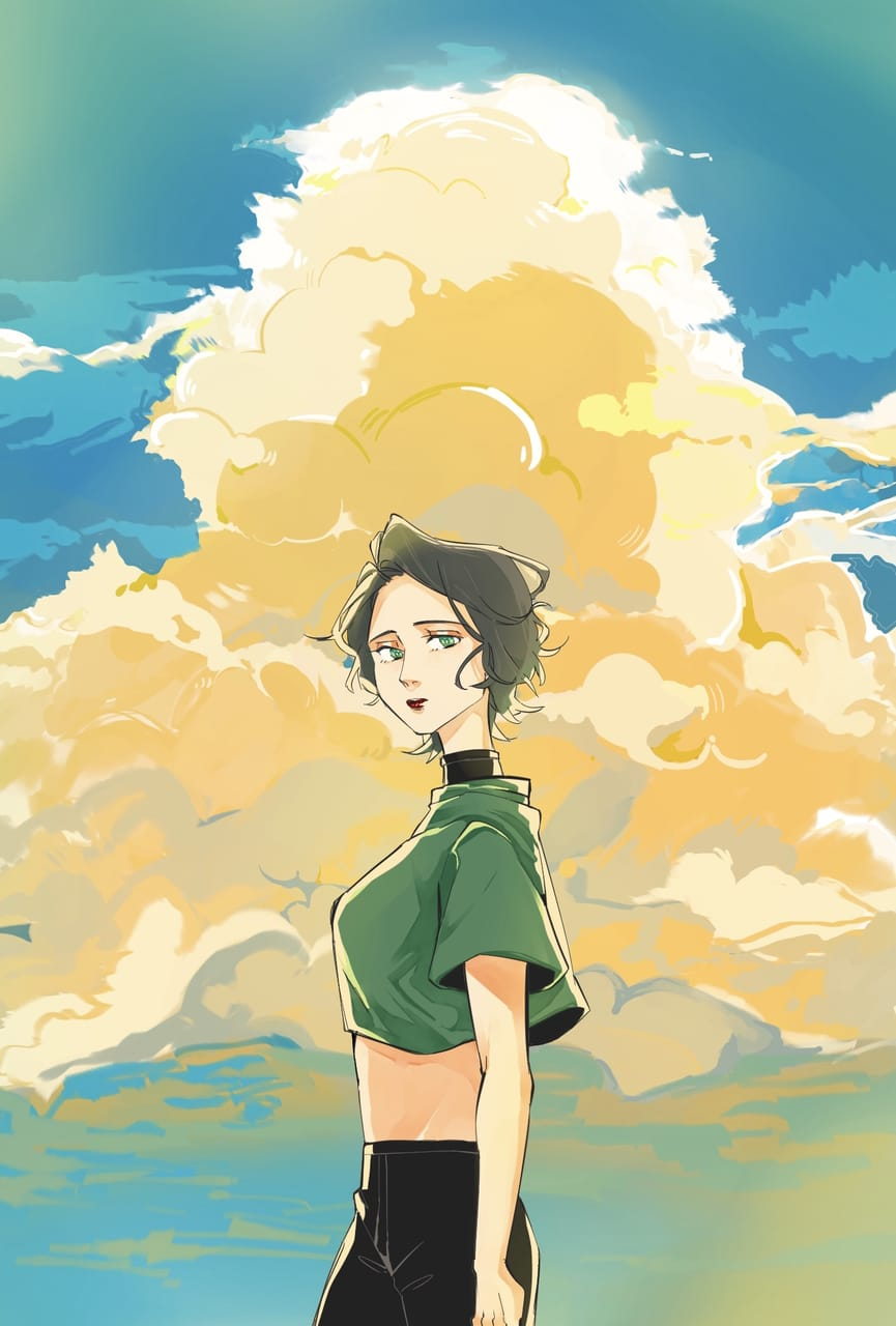 Girl Illust of Sosobernice September2021_Girl sky clouds