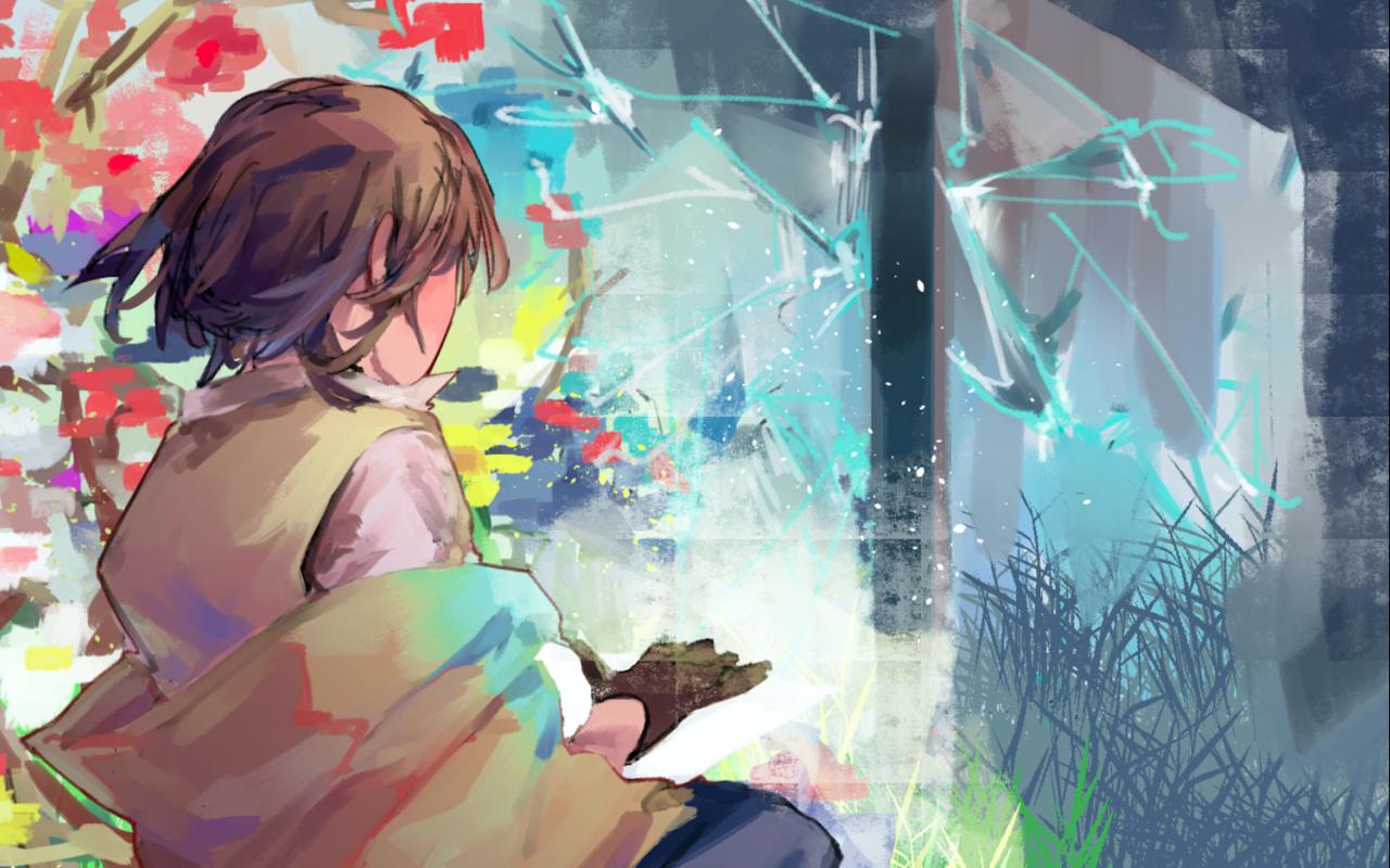 世界崩壊 Illust of 多々緑 original girl practice impasto flower