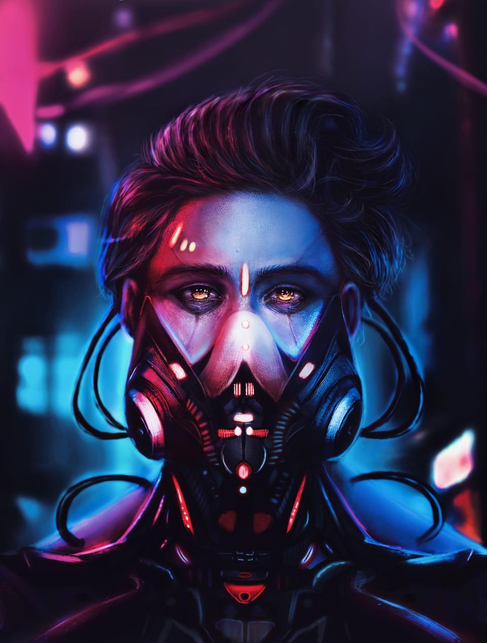 Cyberboy Illust of llorddd November2020_Contest:Cyberpunk cyberpunk boy neon semirealism realistic hair
