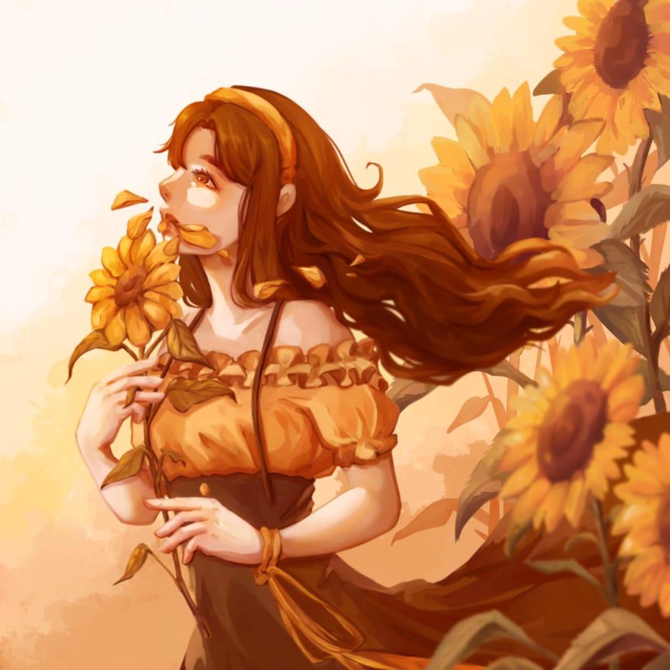 向日葵 沉默的愛 Illust of 楠希Nacci May2021_Monochrome 向日葵 girl flower 橙