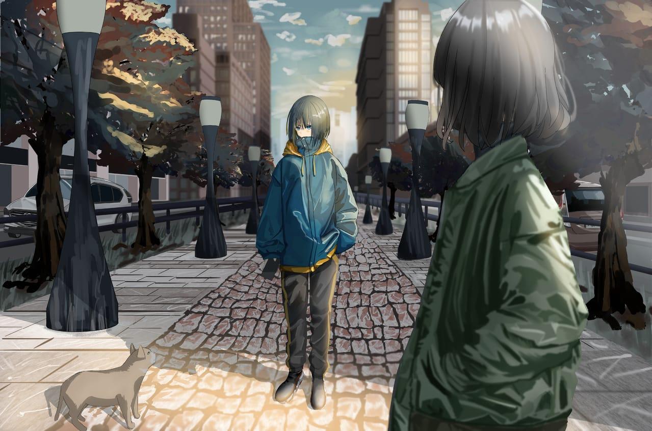 good morning Illust of さんぶなん original cat scenery background girl 朝