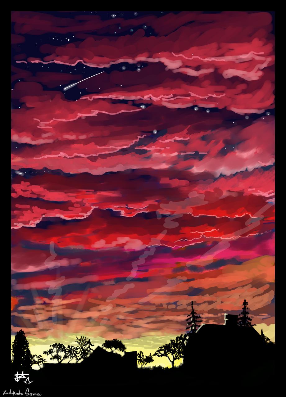 Amanecer Illust of ZUDOKATO - SAMA medibangpaint background anime paisajeanime fondo scenery nubes paisaje