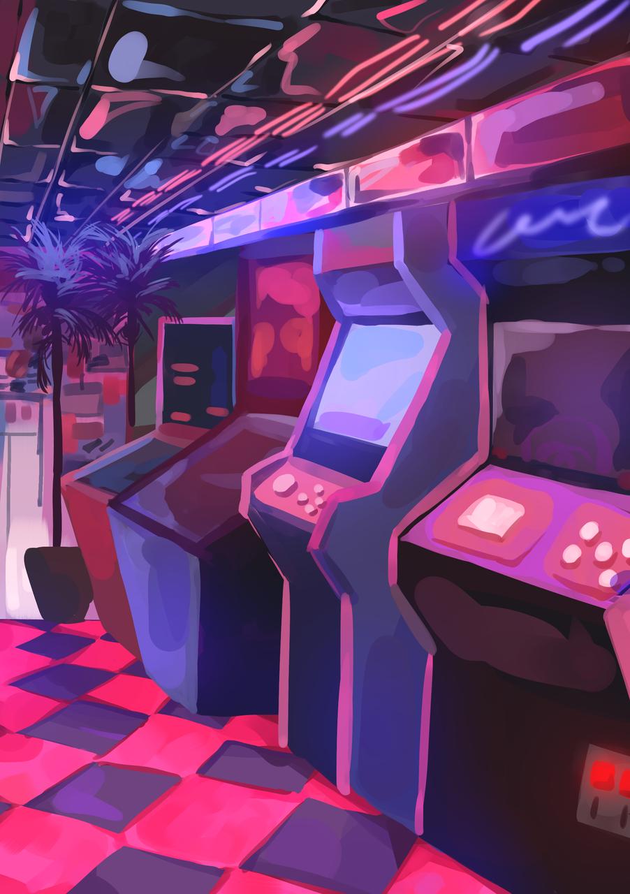 Neon Arcade Illust of Mumechi art drawing cute illustration iPad_raffle