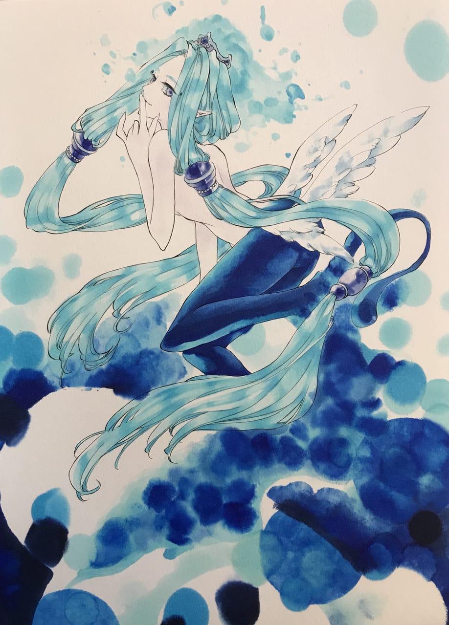Illust of 純吉 Copic アナログ 星座 original blue 創作少女 oc