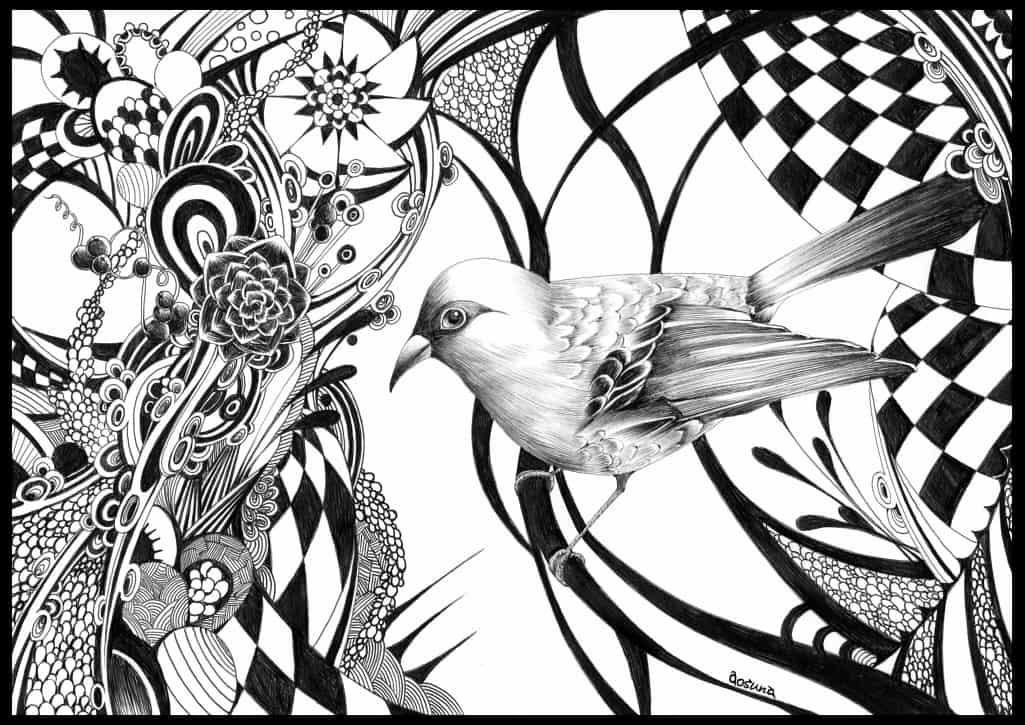 狭間 Illust of 青砂時計 ボールペン birds AnalogDrawing original
