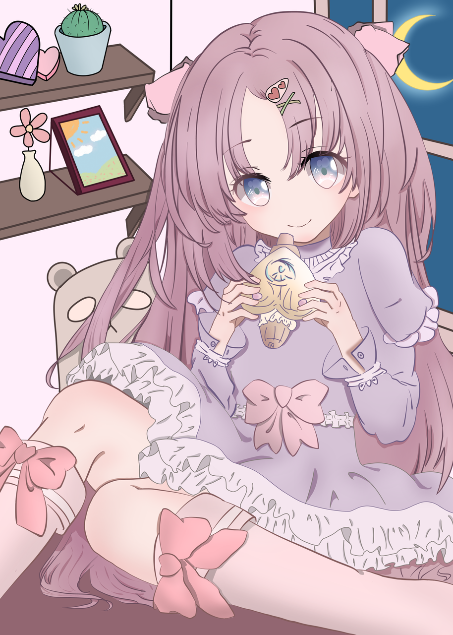 呼~月下少女? Illust of 林浅 medibangpaint cute 房间 girl 蝴蝶结 月光 woman 洛丽塔 卡哇伊 萝莉