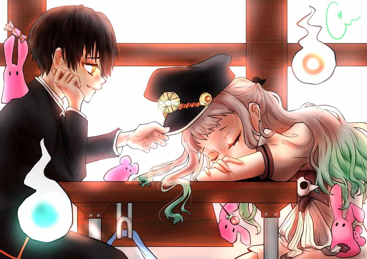 afterschool naptime with hanako Illust of super cinnamon school Feb2020:VDAY ghost manga Toilet-boundHanako-kun Valentine medibangpaint hanako yokai NeneYashiro