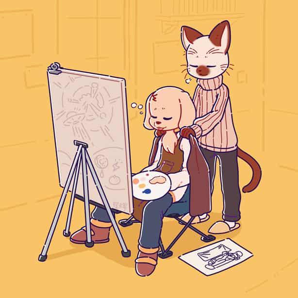 暹罗与金毛-休息 Illust of 喵田穆 September2020_Contest:Furry furryoc oc furry 暹罗与金毛