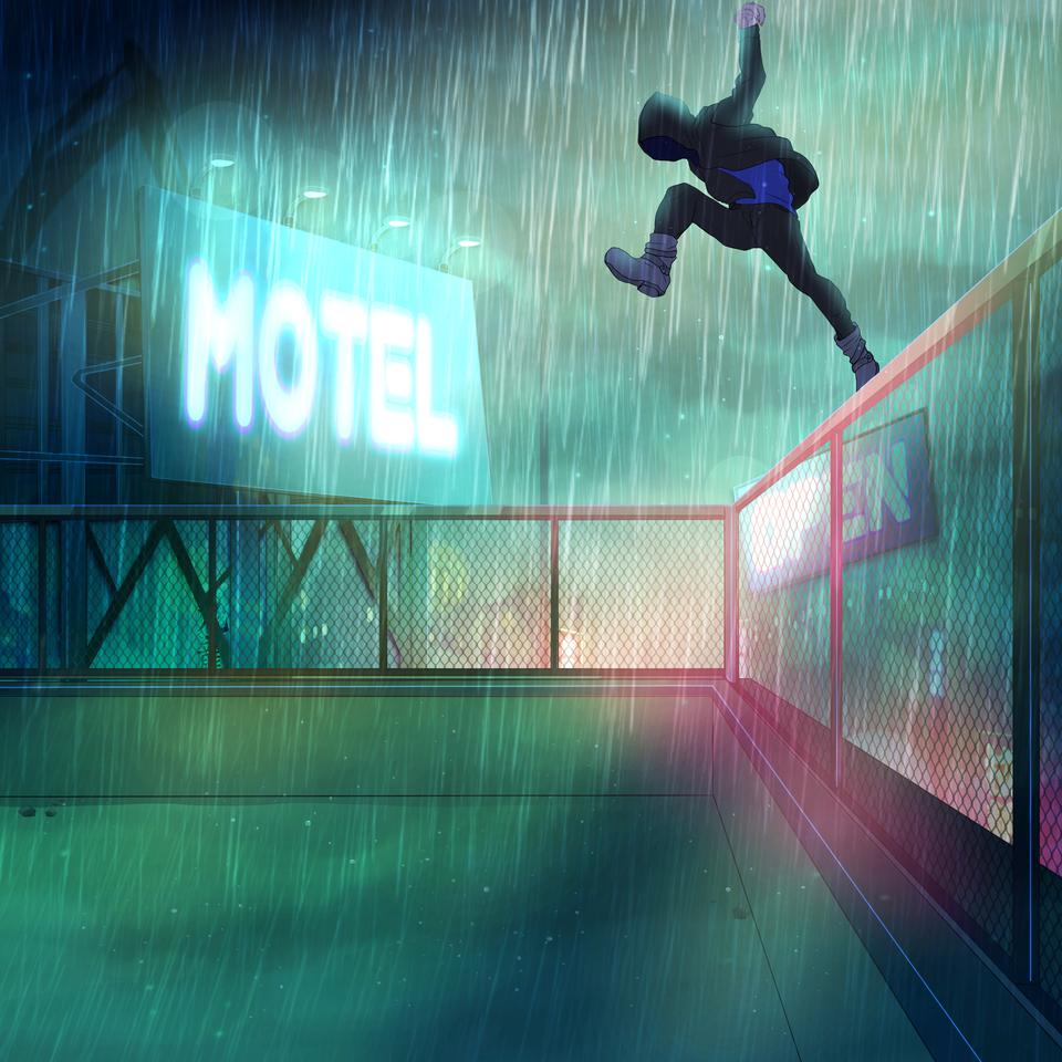 パルクール Illust of TERRA ARTstreet_Ranking フード フリーランニング 夜景 屋上 rain hoodie パルクール 看板 ネオン