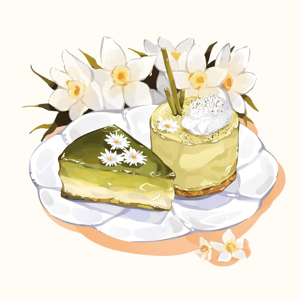 Matcha desserts! Illust of Mumechi cute drawing food illustration