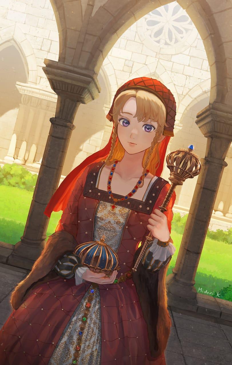 冠と王笏 Illust of 空馬みどり fantasy February2021_Fantasy 一次創作 digital original オリジナルキャラ girl 姫 illustration