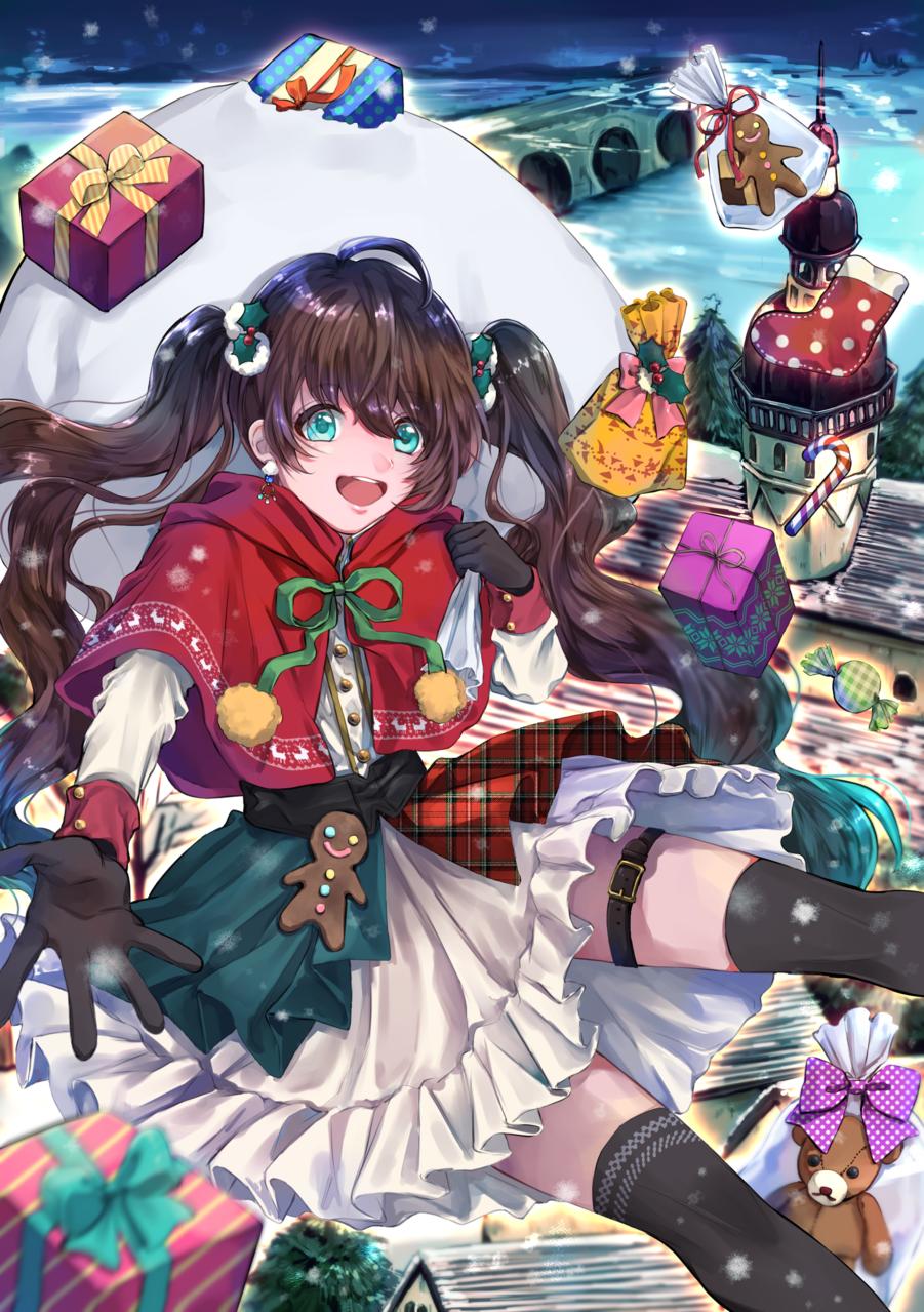 Illust of 砂木リカコ dec.2019Contest プレゼント twin_ponytails Christmas girl