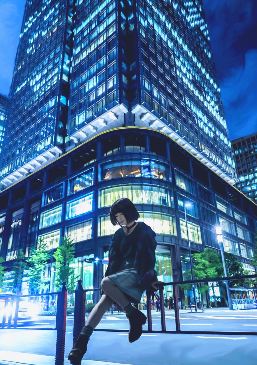 DeLacroix 量  Illust of DeLacroix 量 November2020_Contest:Cyberpunk February2021_Fantasy Kyoto_Award2021[illustration] January2021_Contest:OC art girl illustrations new おんなのこ medibangpaint5000 illustration ciberpunk city digital