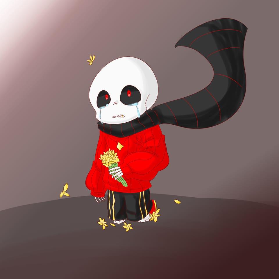 Flowerfell Illust of Ledi_=) Skeleton fanart Flowerfell undertale AU Sans