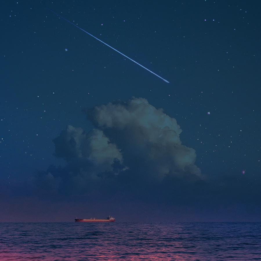 Night In My Dream Illust of G-Noor fantasy ARTstreet_Ranking sky scenery painting sea original illustration star night pink