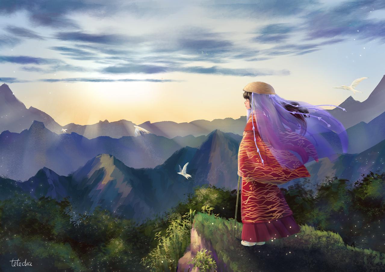 Pilgrim Illust of TTNHana Kyoto_Award2020_illustration January2021_Contest:OC girl forest mountain peace birds kimono ttnhana Sunrise morning
