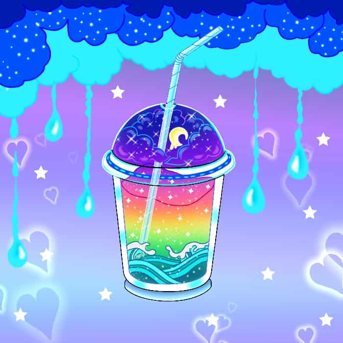 Feeling hot this summer?? Drink up🍹🥤🍭🍰 Illust of Cheesywhiskers magic rainbow witch drink kawaii chibi ice-cream sea ocean cute