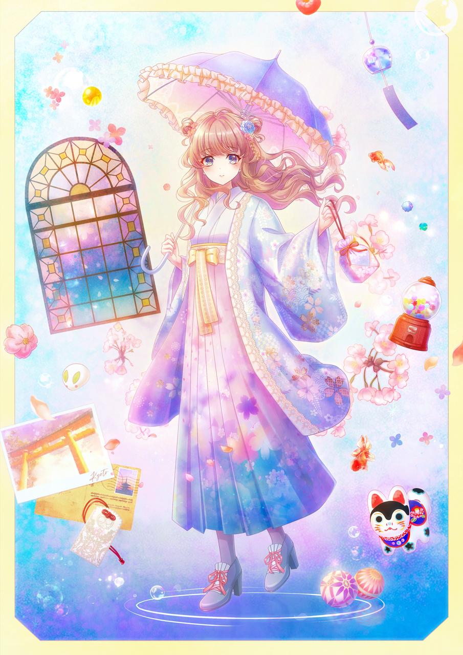 花見 Illust of ✧ Kyoto_Award2020_illustration girl Japanese_style original kimono