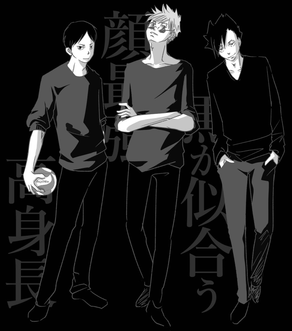 黒が魅せるハイスペック Illust of como TobioKageyama fanart SatoruGojō 黒尾鉄朗 Haikyu!! JujutsuKaisen