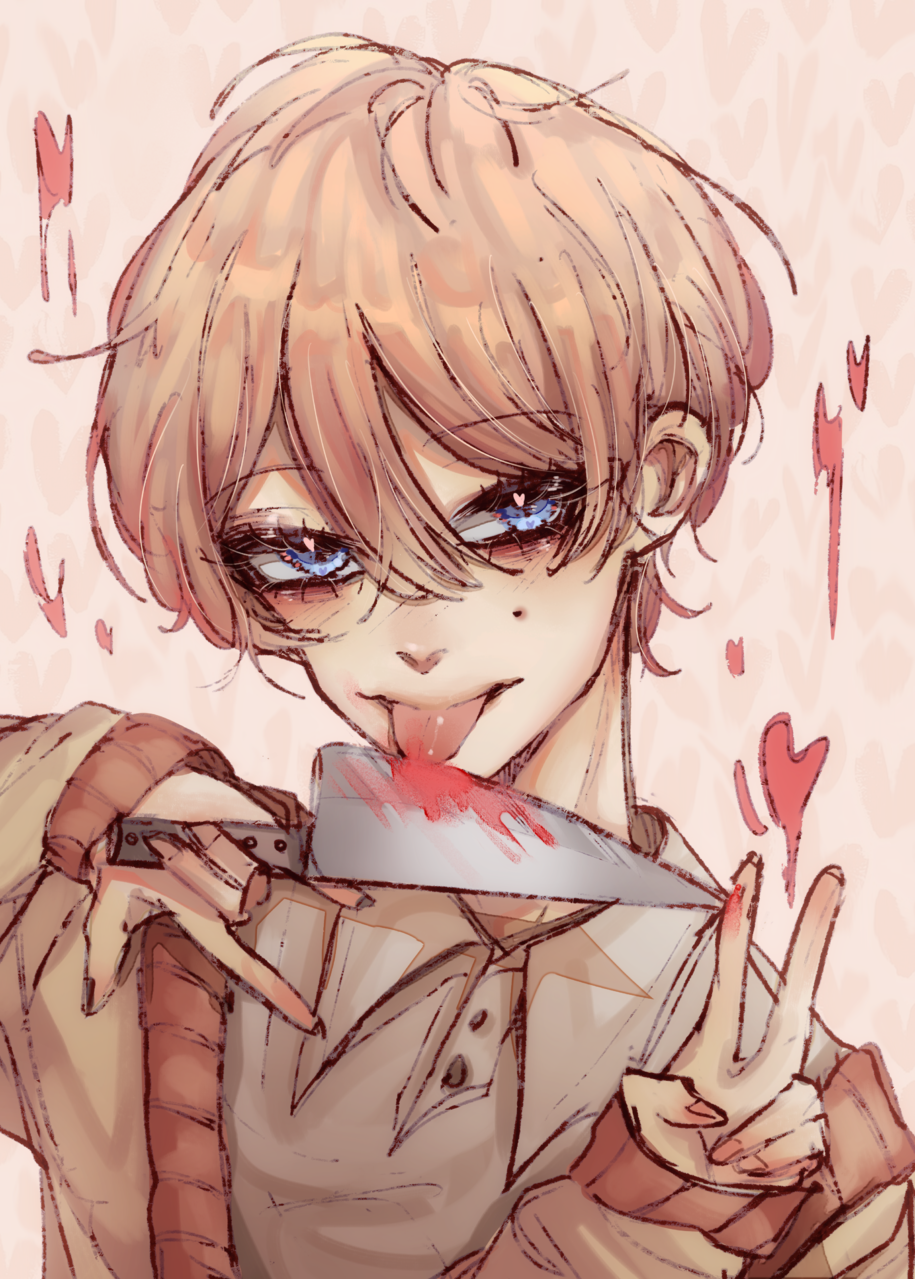 Chu Illust of Purple D.mon medibangpaint anime demon boy blonde Yandere oc
