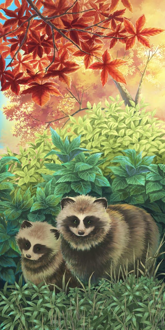 秋タヌキ Illust of (۶•̀ᴗ•́)۶┌┛',;';≡ The_1st_Official background 紅葉 autumn もみじ original scenery raccoon_dog