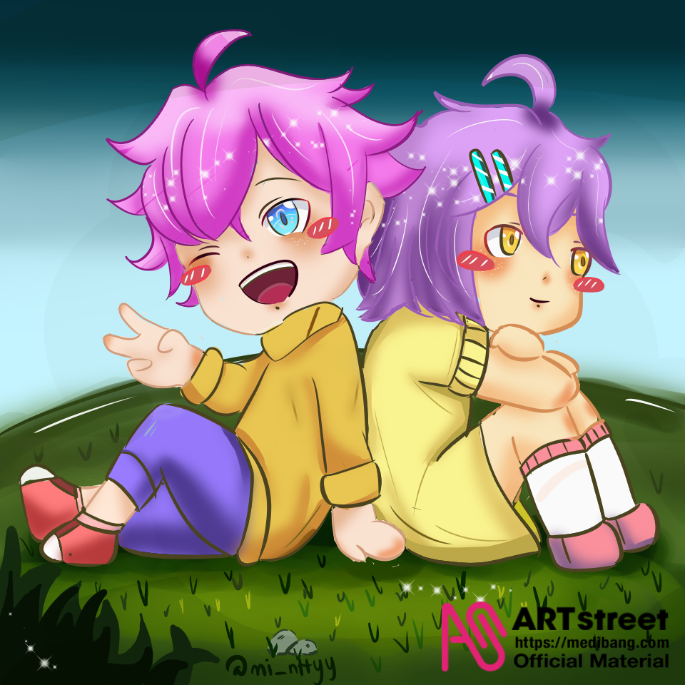 Puppy Love Illust of M_intyy tracedrawing2 cute pink Trace&Draw【Official】 purple love chibi violet pastel