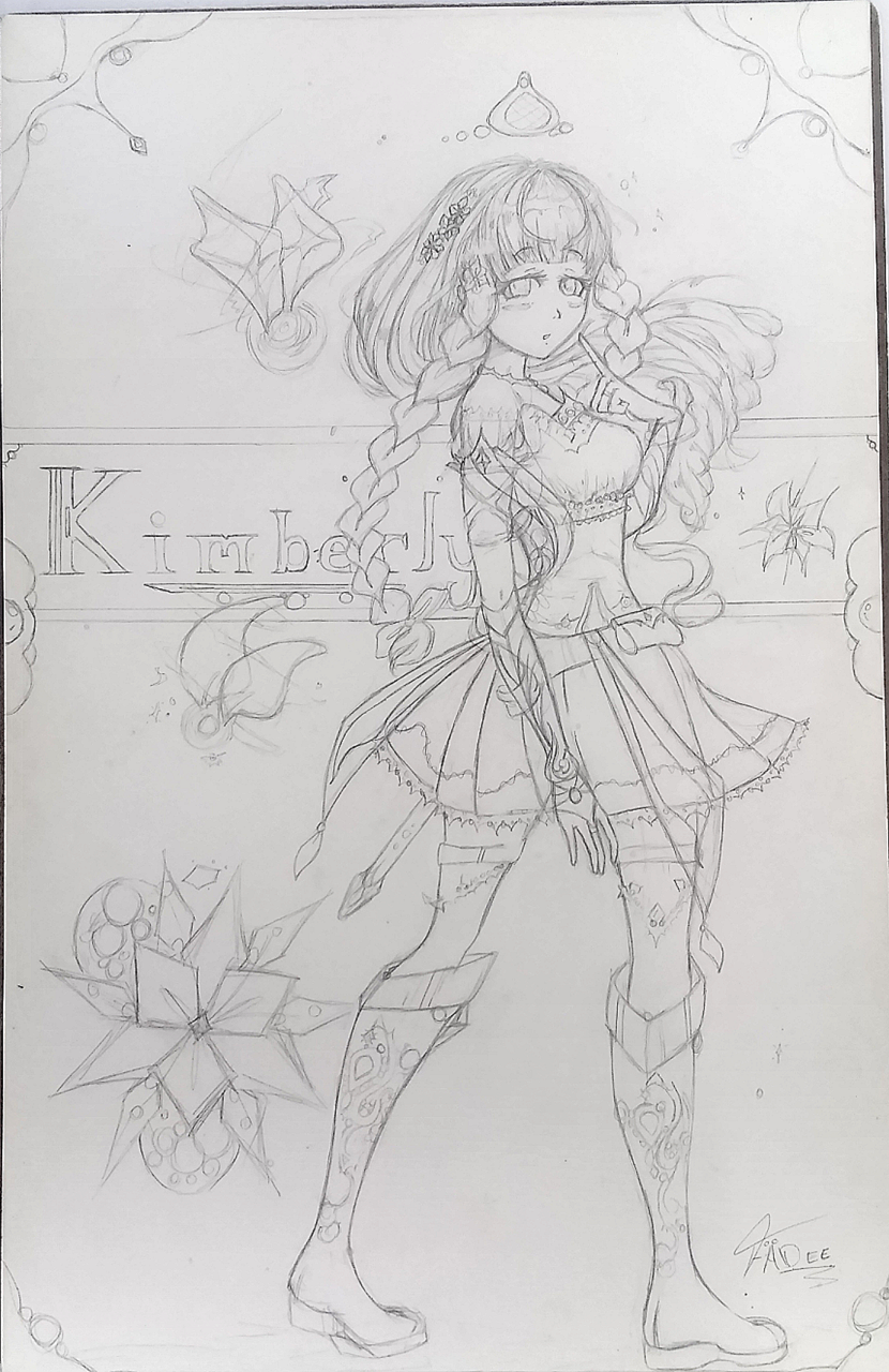 Kimberly Illust of FÄDEE sketch monochrome maid pencil oc anime AnalogDrawing girl traditional medibang original