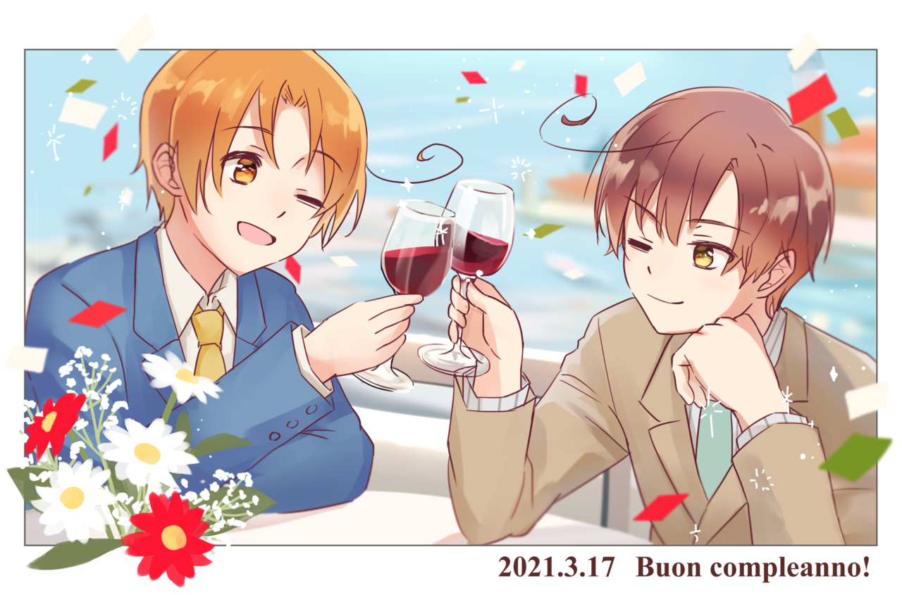 Buon compleanno! Illust of イルカ ロヴィーノ・ヴァルガス APH フェリシアーノ・ヴァルガス