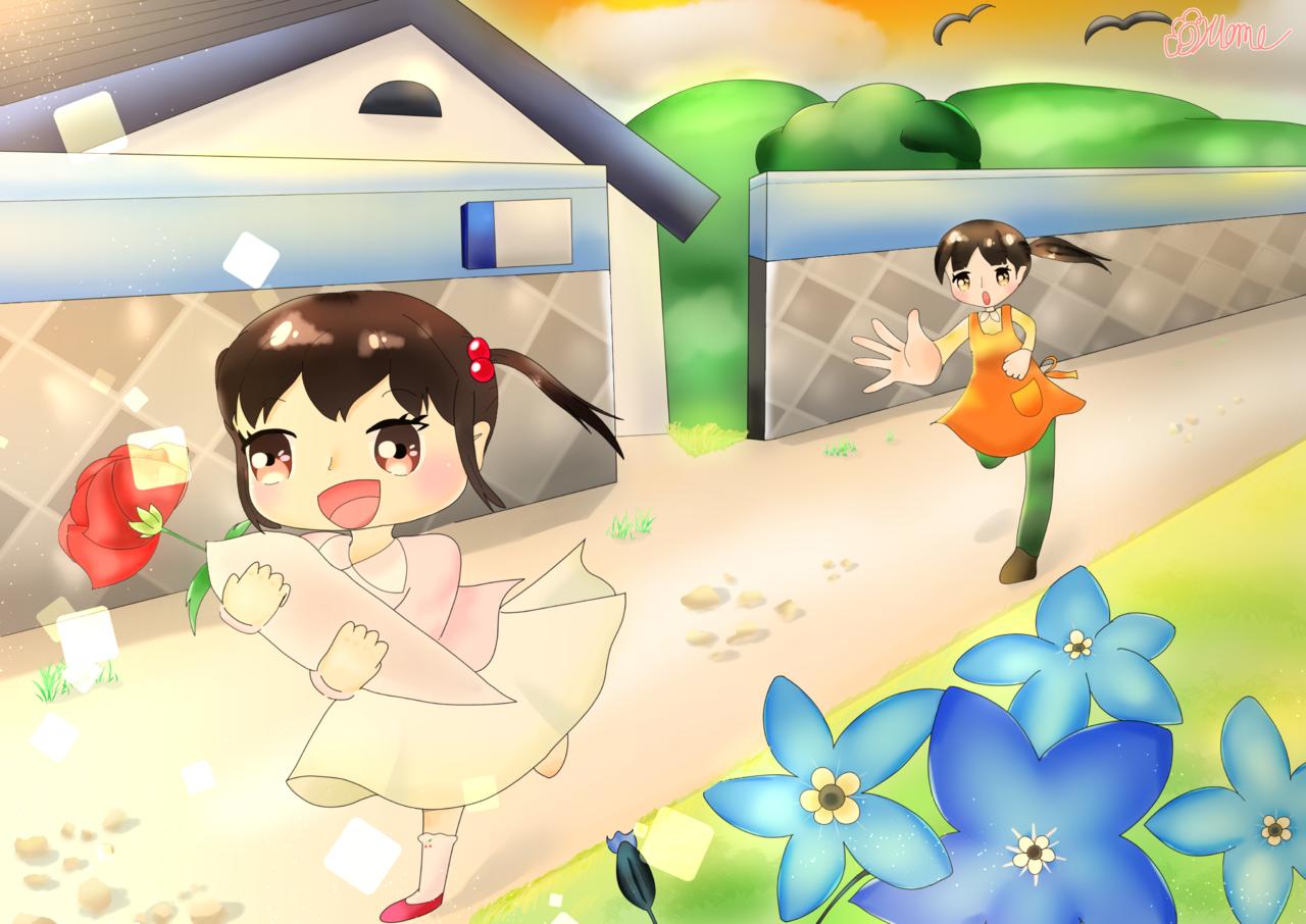 会いたい。 Illust of Hanamomo April2021_Flower sunset girl カーネーション 勿忘草 oc 母の日