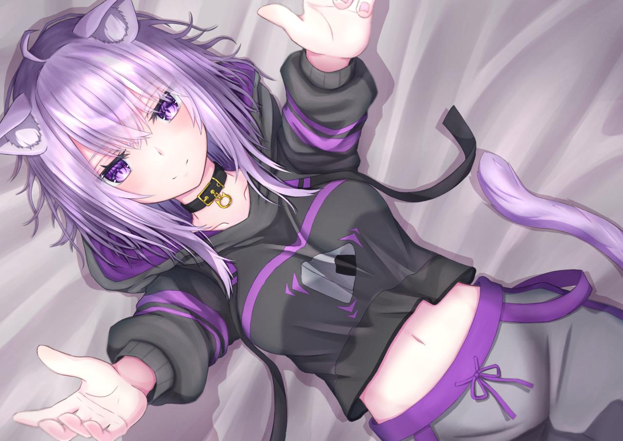 おいで~ Illust of 日向あおい kawaii girl 猫又おかゆ virtual_YouTuber cat_ears hololive