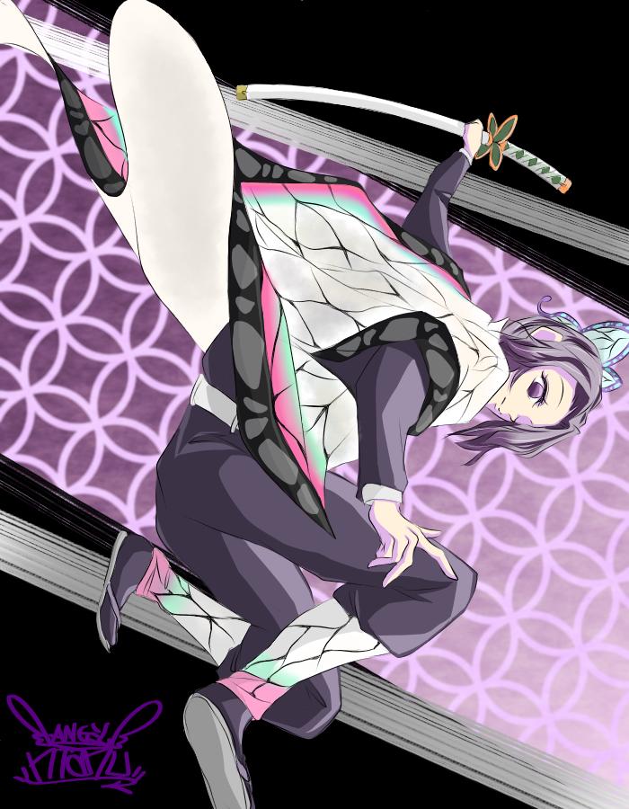 鬼滅の刃 しのぶchan♪(Shinobu♪) Illust of Manu DemonSlayerFanartContest cute girl イケ女 KimetsunoYaiba butterfly 刀 KochouShinobu purple