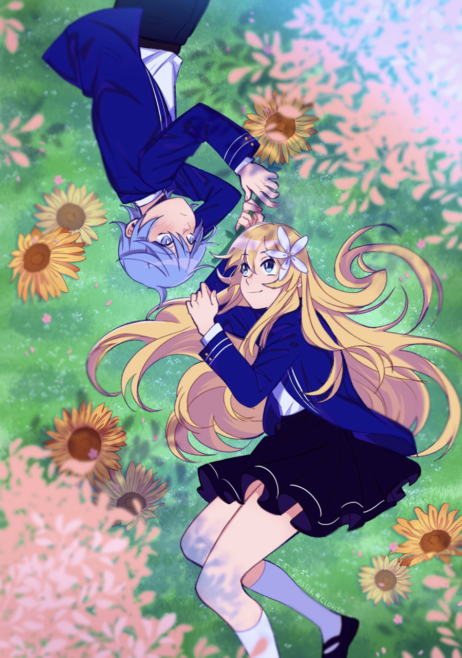sunflowers for you. Illust of AsterClovis original sakura ShionBellevue sunflower oc anime YuriKielo OurFlowerLanguage originalcharacters