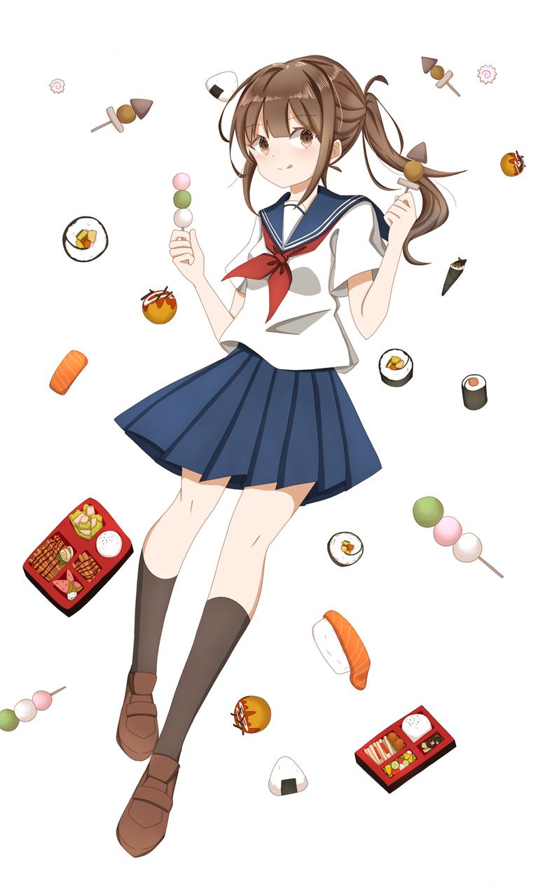 不知该叫什么好……?(ノД`)是个摸鱼_(:D)∠)_ Illust of 莫丸——!XD medibangpaint illustration 女子高生 sailor_uniform food girl lazy oc