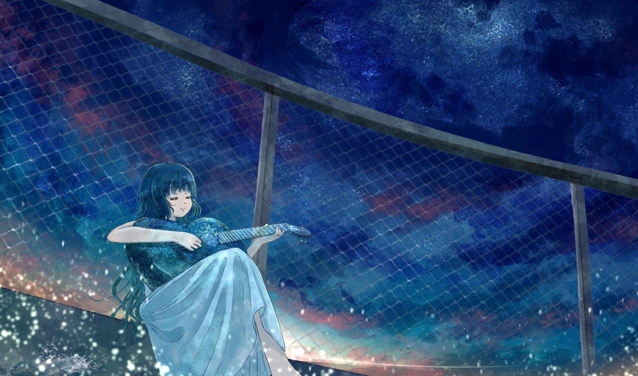 夜明けと蛍/n-buna Illust of 熊谷のの 夜空 ギター 夜明けと蛍 scenery fanart 幻想風景 n-buna