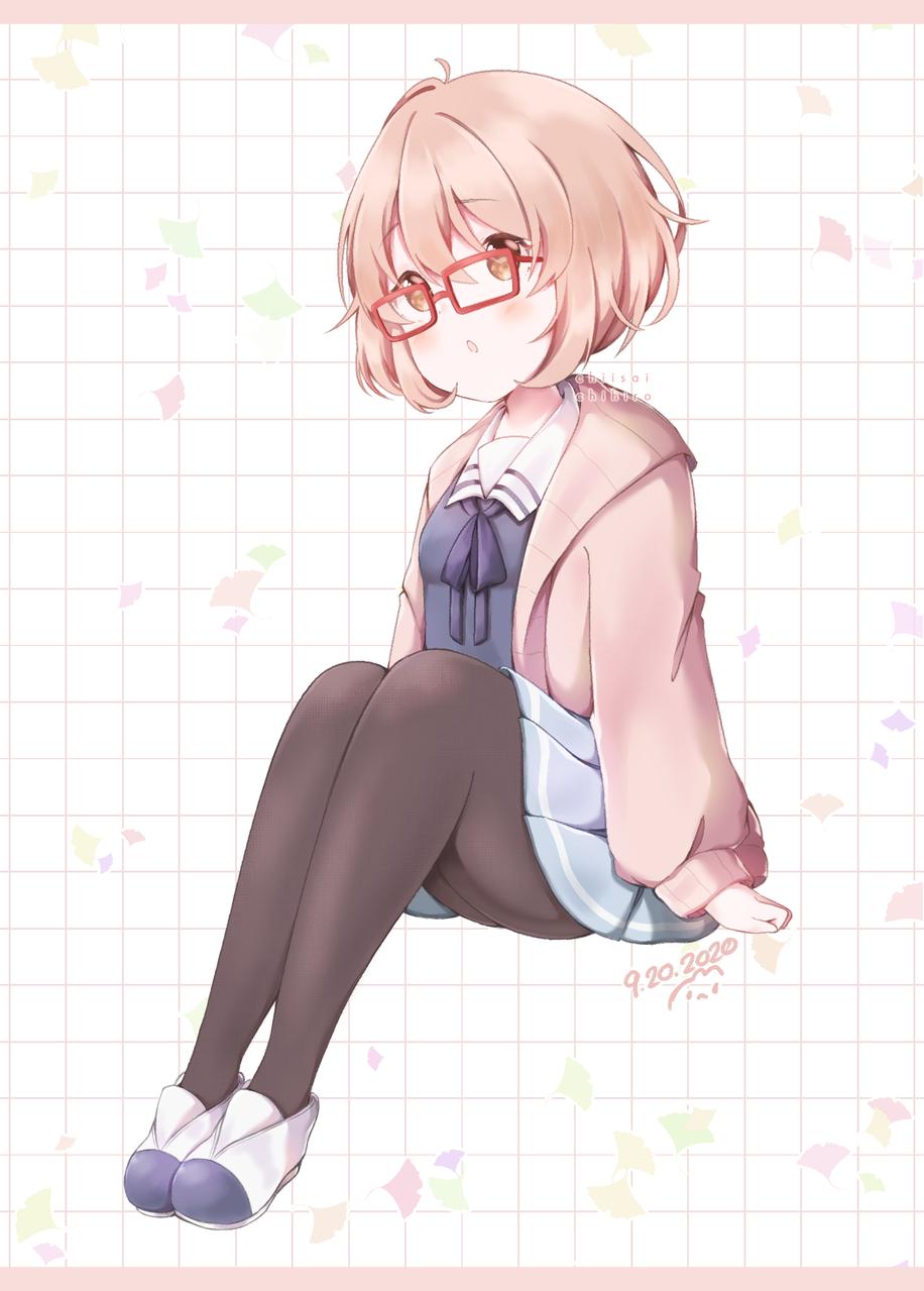 Mirai Illust of Chi medibangpaint glasses girl BeyondtheBoundary anime fanart
